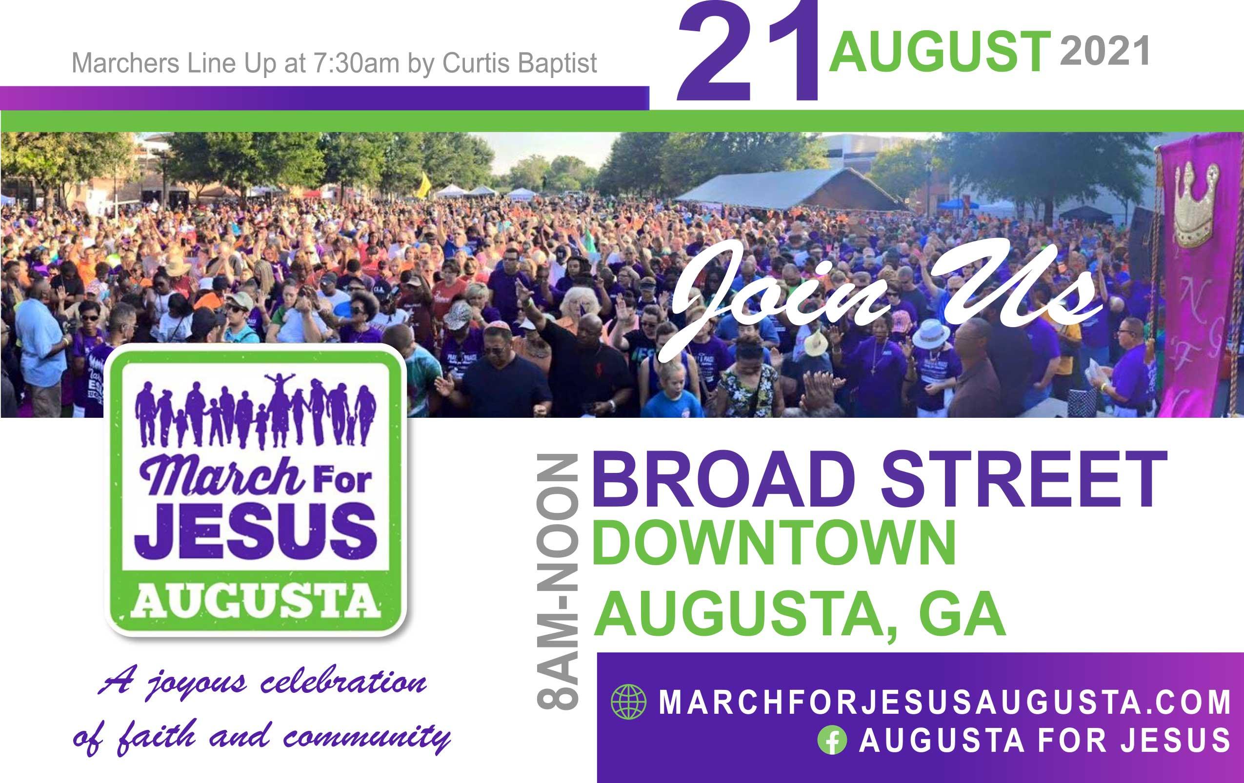 March postcard 2021 | March For Jesus Walk - Augusta